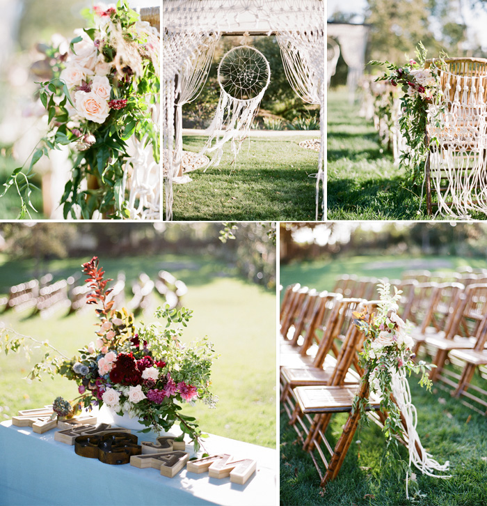 Eclectic florals lining the ceremony space, the giant dreamcatcher lends to the floaty atmosphere; photo by Sylvie Gil