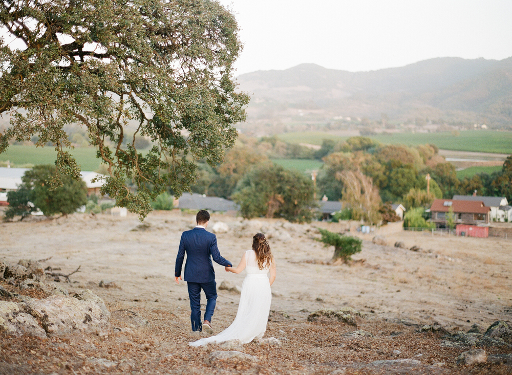 The newly married couple walks down a Napa hill together, hand in hand; photo by Sylvie Gil