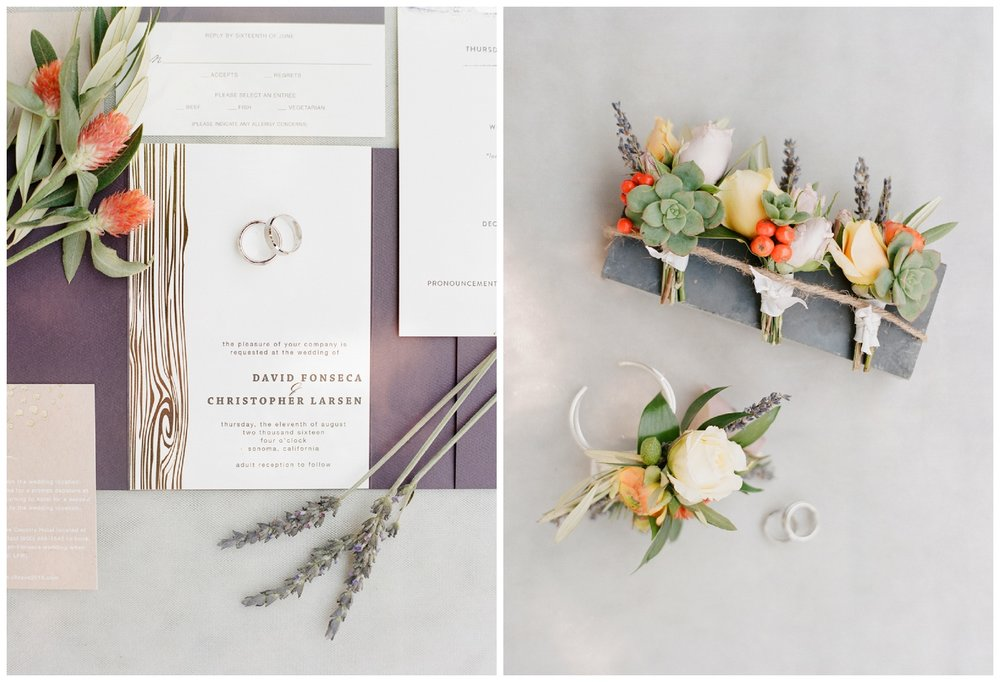 Dusty mauve and lavender invitation suite, succulent boutonnieres; Sylvie Gil Photography