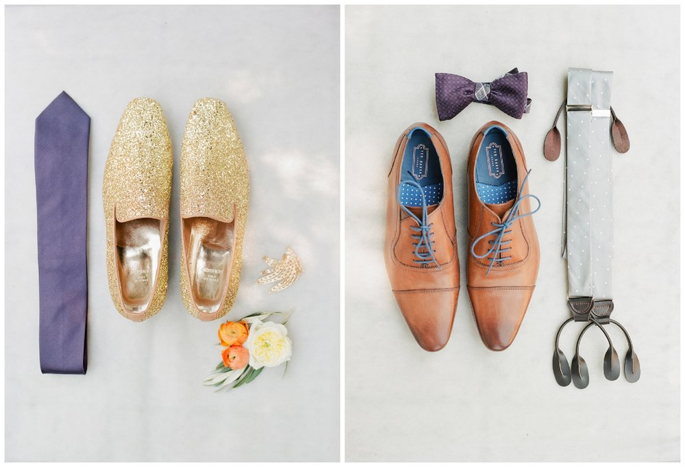 Grooms' shoes and accessories - glittery gold loafers and grey polka dot suspenders; Sylvie Gil Photography