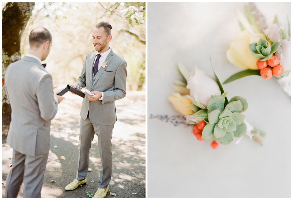 Grooms' first look, exchanging letters and gifts; Sylvie Gil Photography