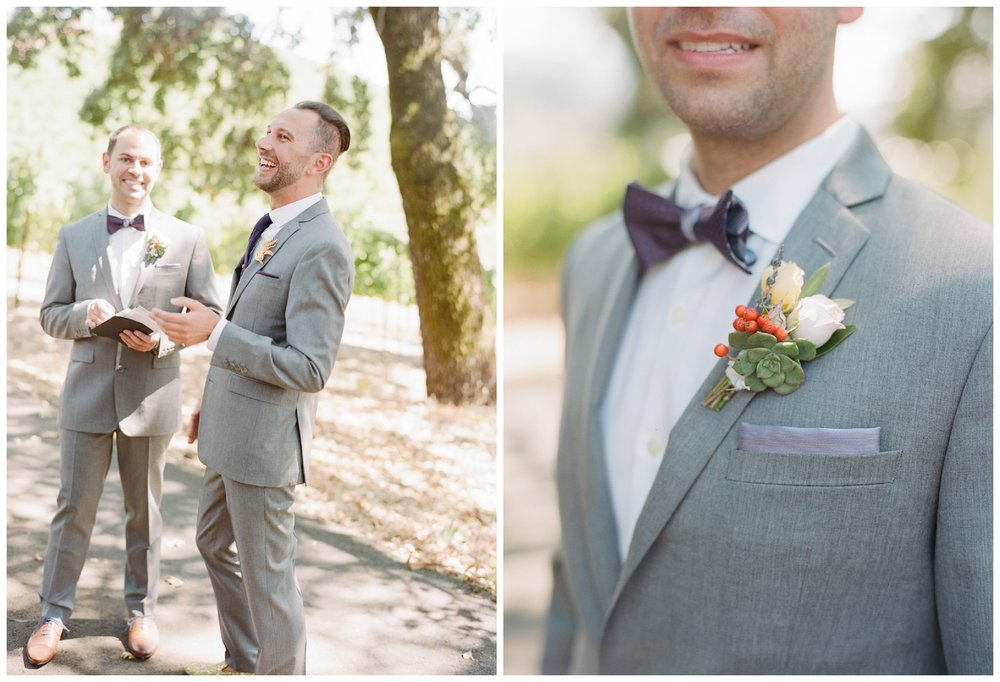 Succulent boutonniere details and pocket square on groom's jacket; Sylvie Gil Photography