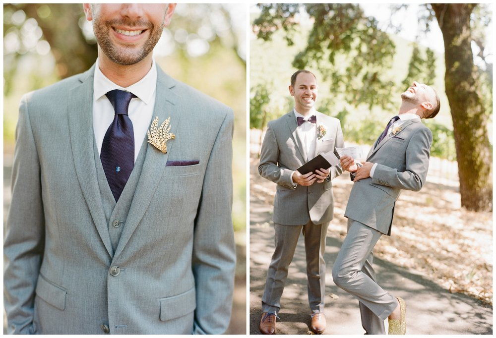 Grooms share a laugh during the first look letters before their wedding ceremony; Sylvie Gil Photography