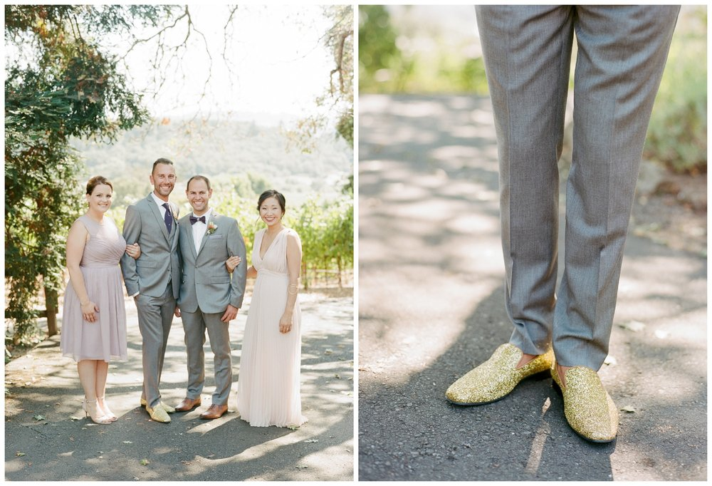 Groom's sparkly gold loafers paired with a grey suit; Sylvie Gil Photography