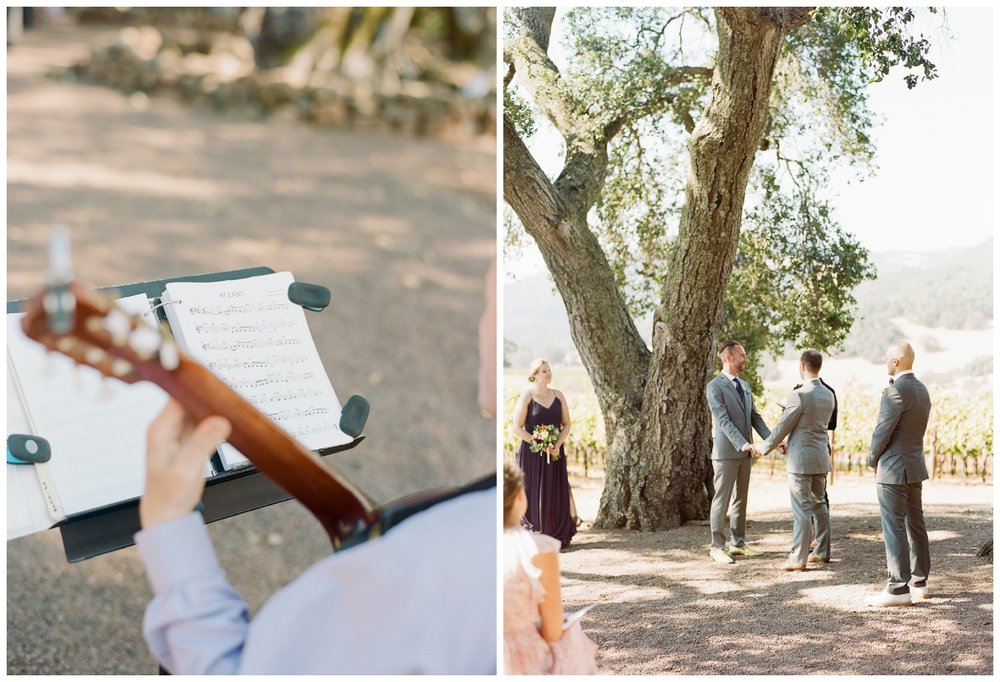 Wedding guitarist plays 'At Last' before the ceremony at Kunde Family Winery; Sylvie Gil Photography
