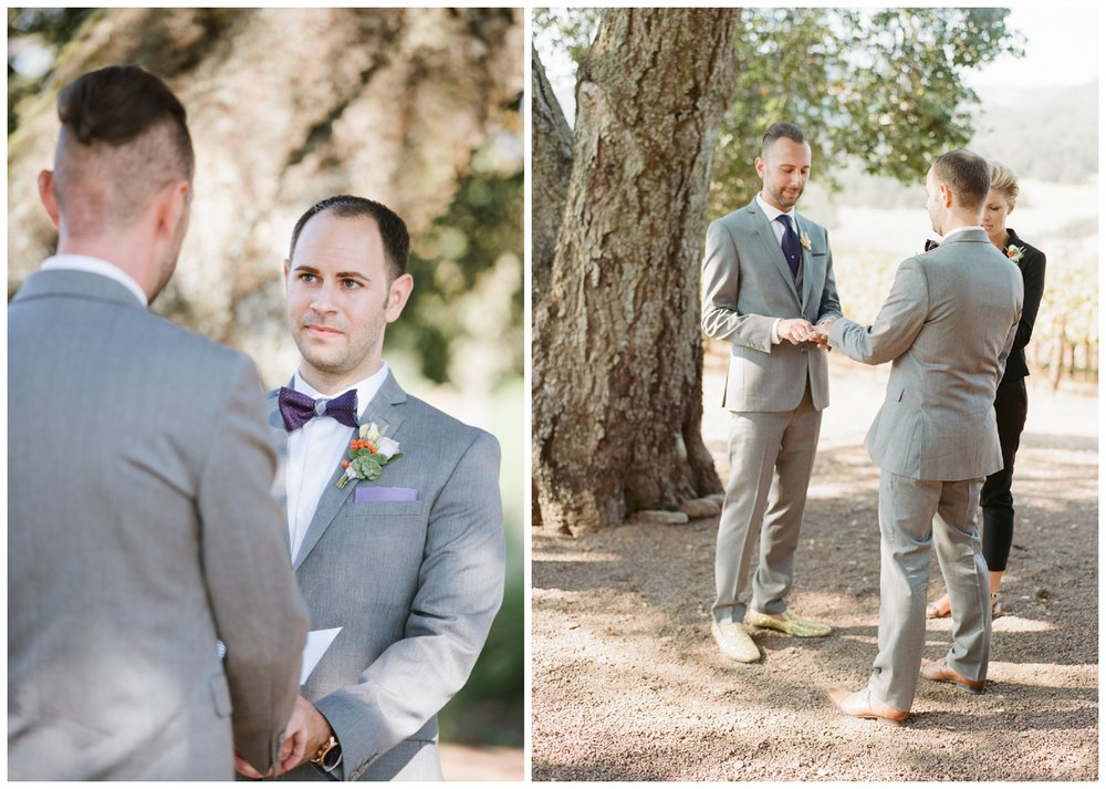 Same sex couple ceremony at Kunde Family Winery in Napa Valley; Sylvie Gil Photography