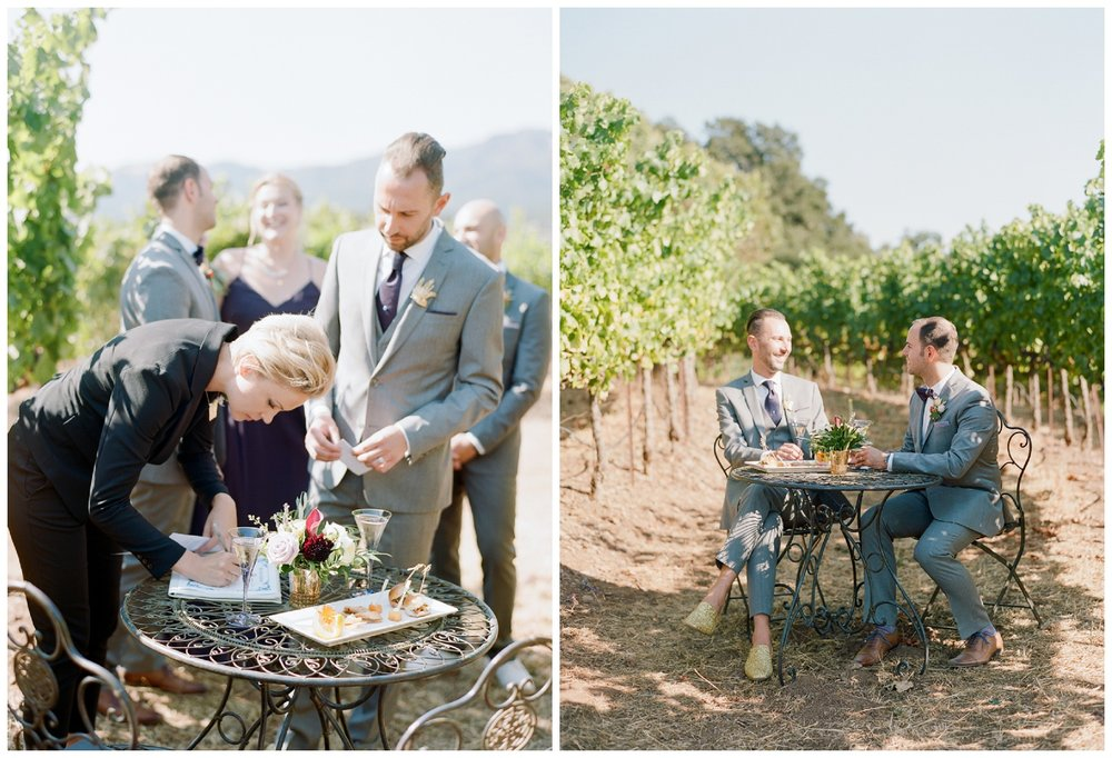 Couple signs their marriage license and shares a glass of champagne in the vineyards after the ceremony; Sylvie Gil Photography