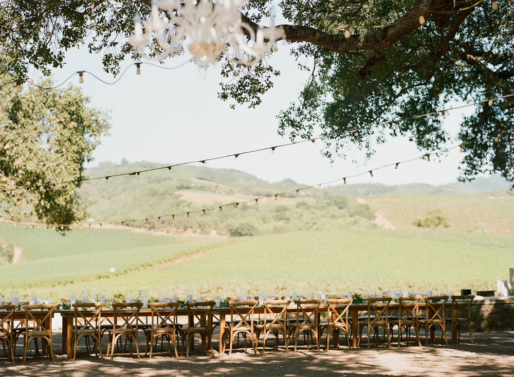 Single long reception table under string lights at Kunde Family Winery in Napa Valley; Sylvie Gil Photography