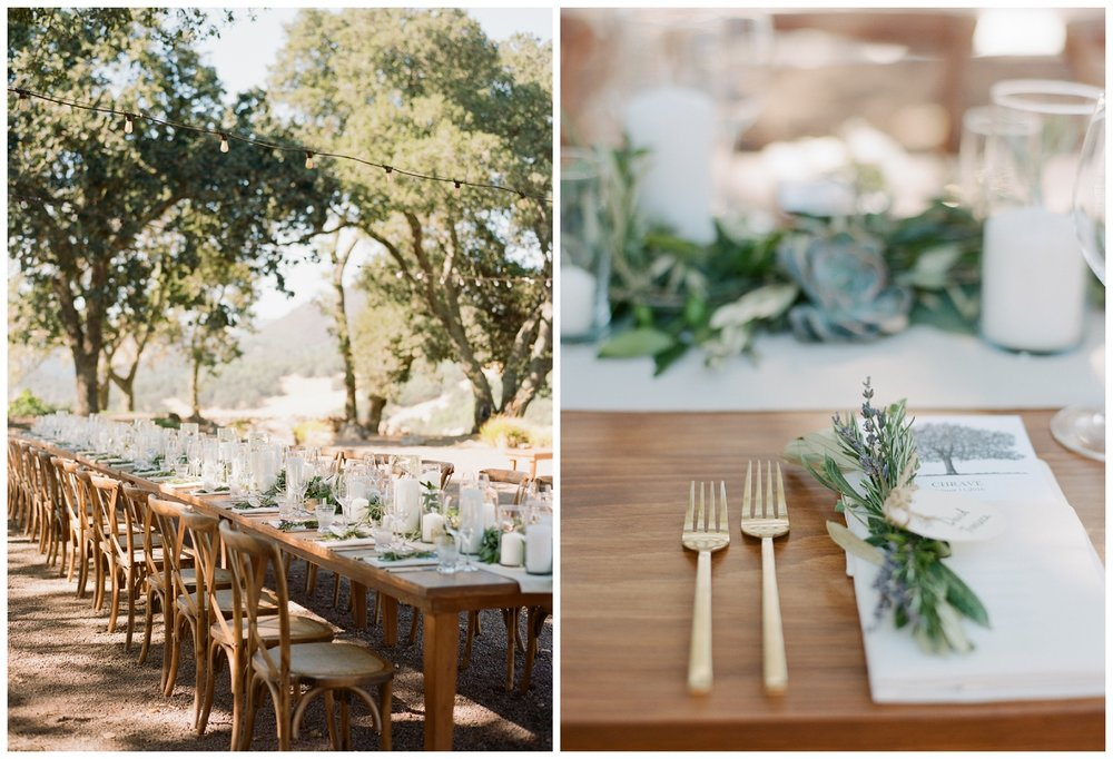 Reception table and place setting details with lavender and succulents; Sylvie Gil Photography