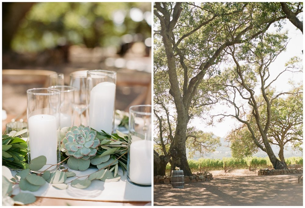 Succulent and pillar candle centerpieces for the outdoor wedding reception table; Sylvie Gil Photography