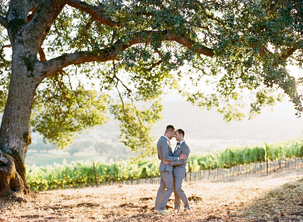 Gay couple shares a moment under the oak trees at Kunde Winery after their wedding ceremony; Sylvie Gil Photography