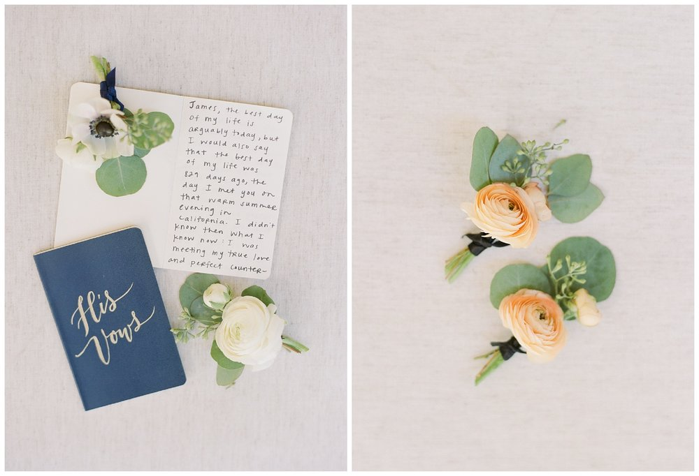 Bride's and groom's vows , ranunculus boutonnieres; Sylvie Gil Photography