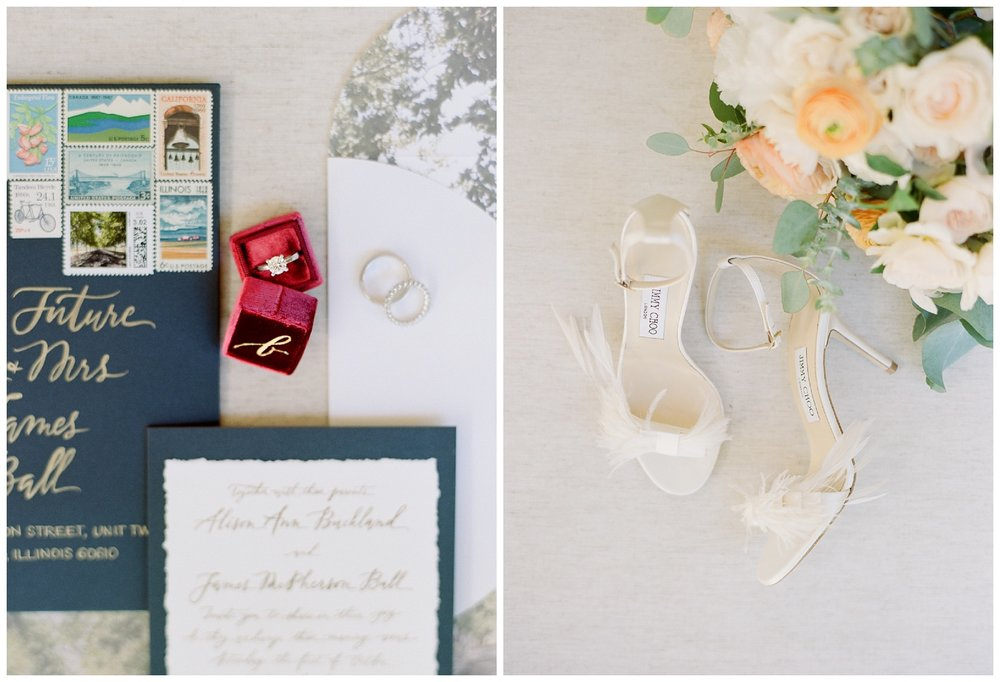 Mrs. Box ring box holds the couple's wedding rings, bride's Jimmy Choos before the ceremony; Sylvie Gil Photography