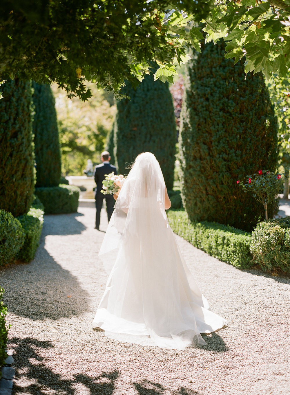 Bride and groom before the first look in Beaulieu Gardens, St. Helena; Sylvie Gil Photography