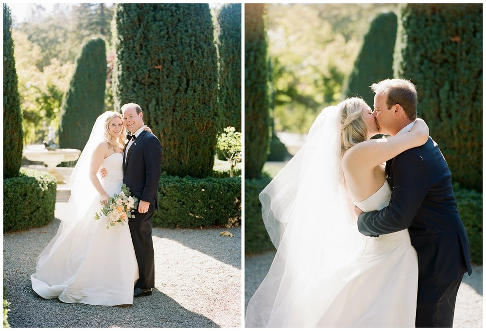First look and first kiss in Beaulieu Gardens in St. Helena wine country; Sylvie Gil Photography