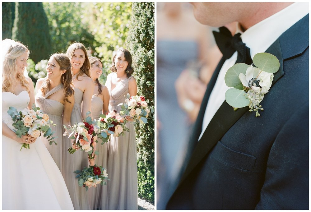 Bridesmaids in taupe dresses, groomsmen sport eucalyptus boutonnieres; Sylvie Gil Photography