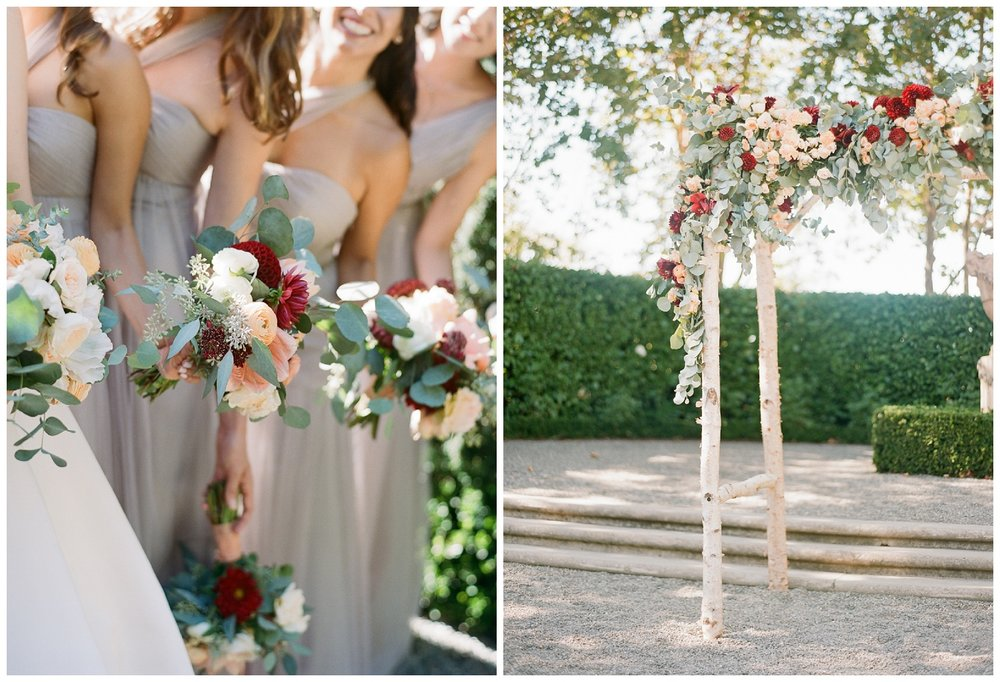 Bridesmaids bouquets mirror the birch arbor in the Beaulieu Gardens ceremony; Sylvie Gil Photography
