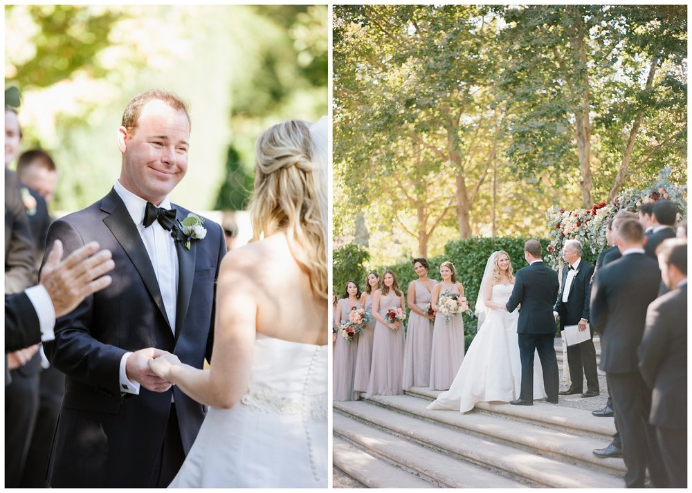 Bride and groom exchange vows during their wedding ceremony at Beaulieu Gardens in St. Helena; Sylvie Gil Photography