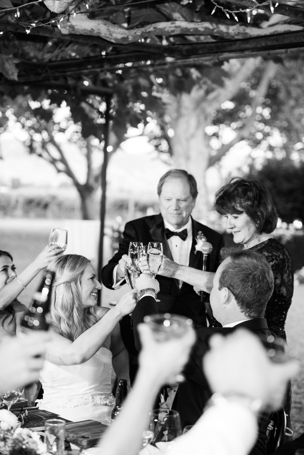 Bride and groom toast parents during the wedding reception at Beaulieu Gardens; Sylvie Gil Photography