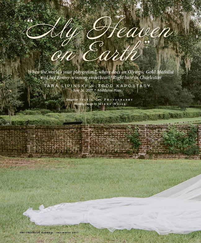 Page 1 from Charleston Wedding's feature on Tara Lipinski & Todd Kapostasy's wedding; Sylvie Gil Photography