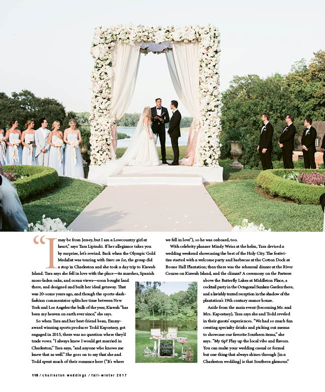 Page 2 from Charleston Weddings' feature on Tara Lipinski's and Todd Kapostasy's wedding; Sylvie Gil Photography