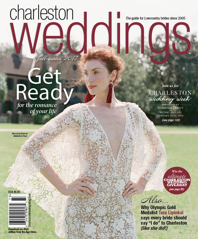 Cover from Charleston Weddings' feature on Tara Lipinski's and Todd Kapostasy's wedding; Sylvie Gil Photography
