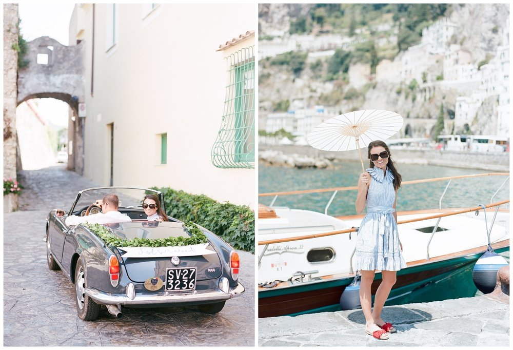 Newlyweds board a yacht to Positano for a wedding brunch; Sylvie Gil Photography