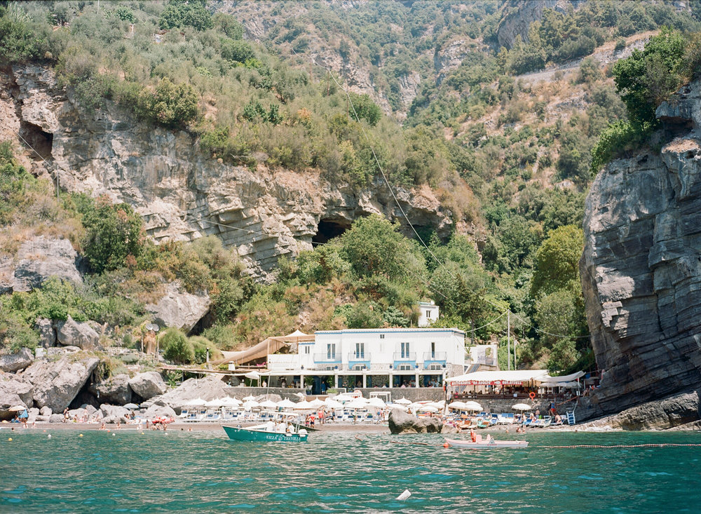 A beach club in Positano where the wedding brunch was held; Sylvie Gil Photography