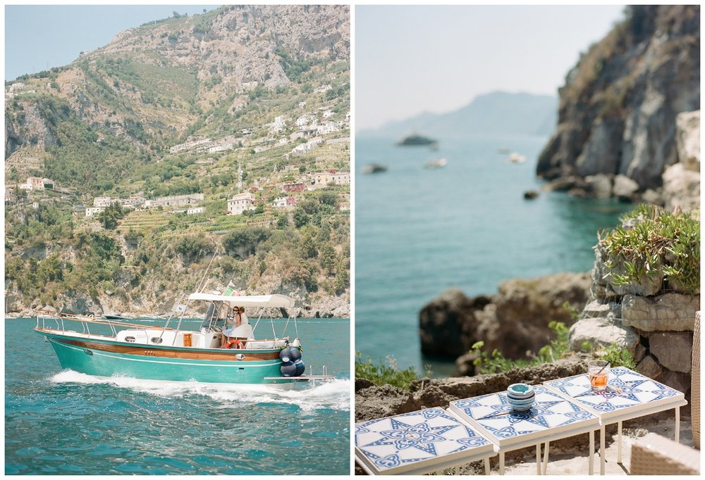 The beach club in Positano, Italy on the Amalfi Coast; Sylvie Gil Photography