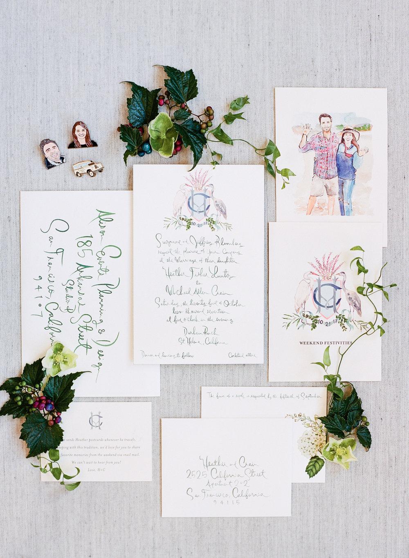 Watercolor invitation layflat; Sylvie Gil Photography