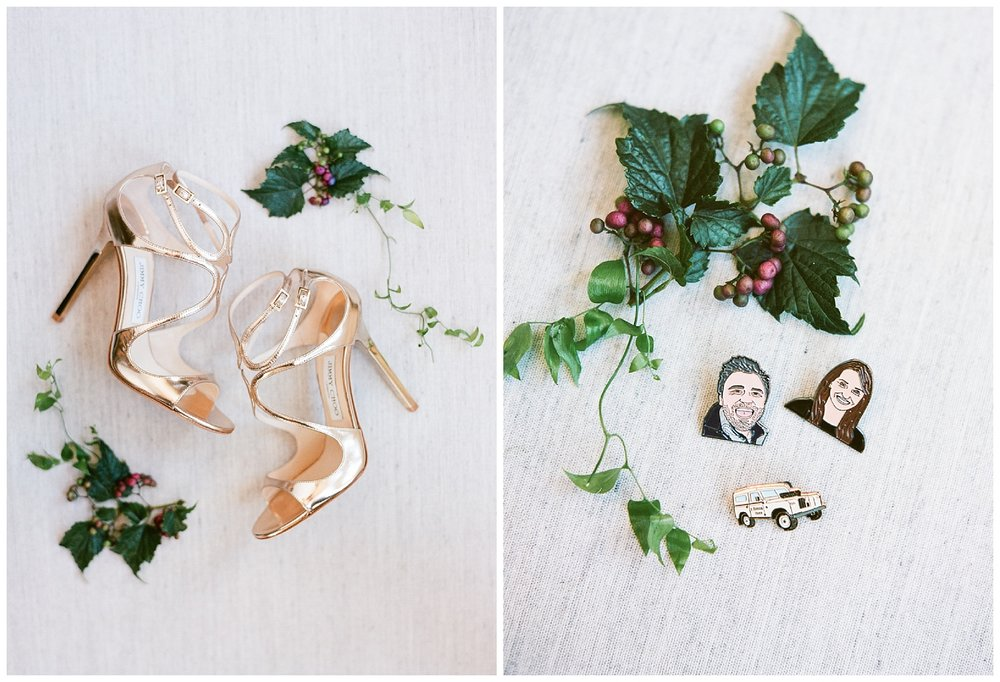 The bride's Jimmy Choos and sentimental pins depicting the bride and groom; Sylvie Gil Photography