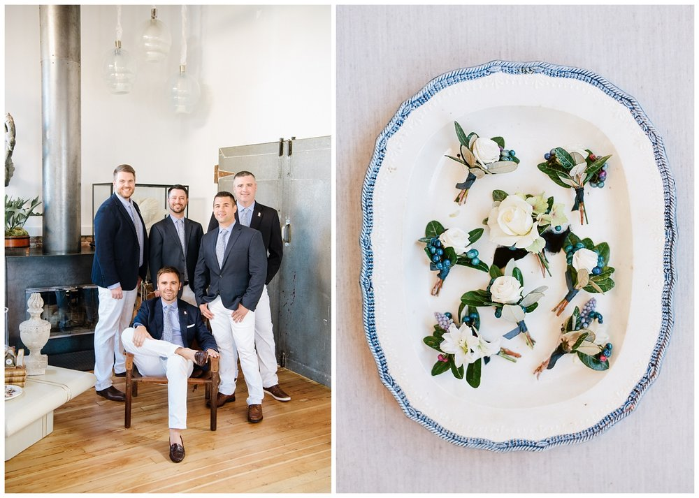 The groomsmen in navy suits, a plate with boutonnieres; Sylvie Gil Photography
