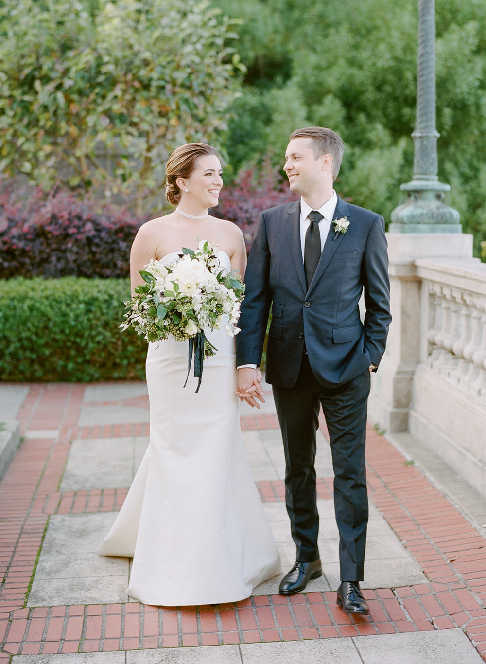 The couple takes a stroll at San Francisco's Lyon Steps before the wedding ceremony; Sylvie Gil Photography