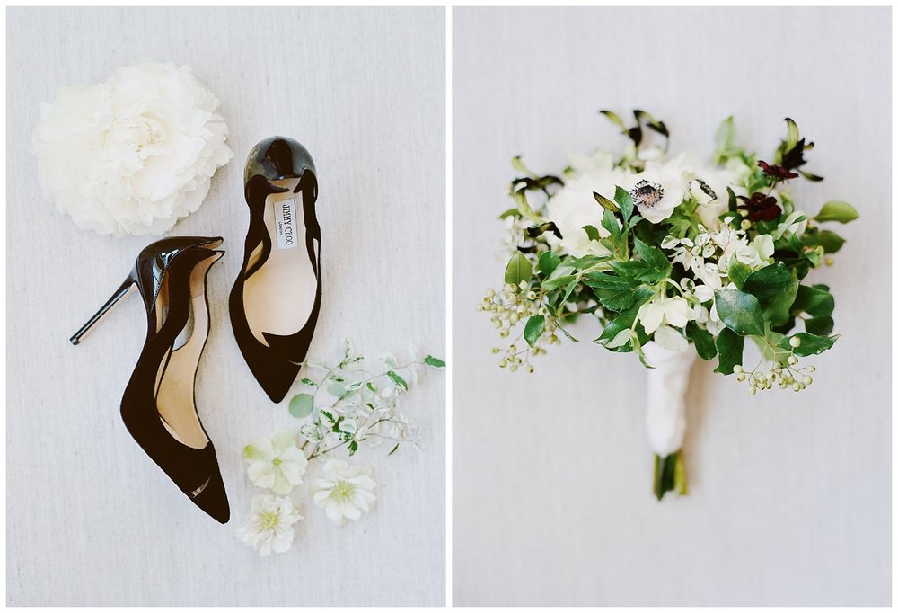 The bride's Jimmy Choos and her dogwood bouquet; Sylvie Gil Photography