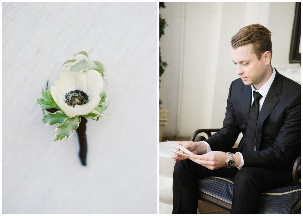 The groom reads a letter from his bride; Sylvie Gil Photography