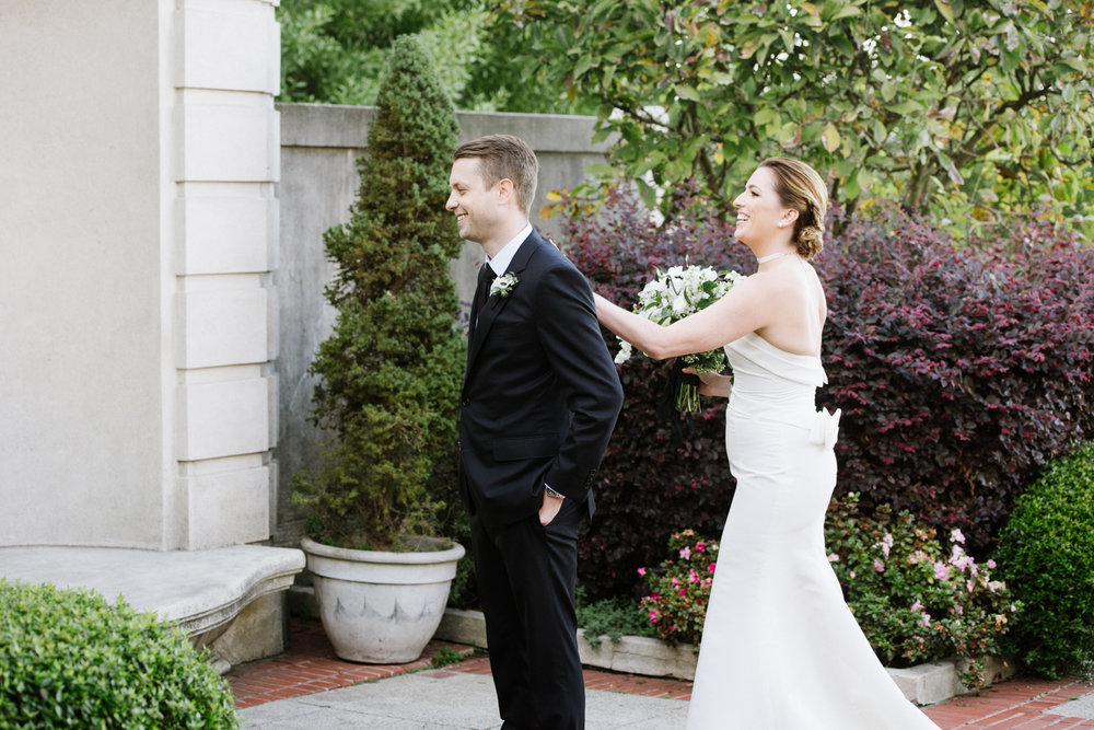Bride and groom have their first look at the Lyon Steps in San Francisco; Sylvie Gil Photography