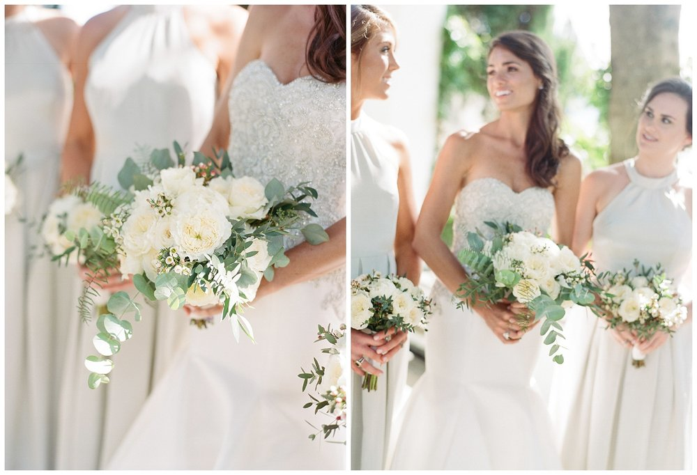 The bride and bridesmaids before the ceremony, dressed in white with white bouquets; Sylvie Gil Photography
