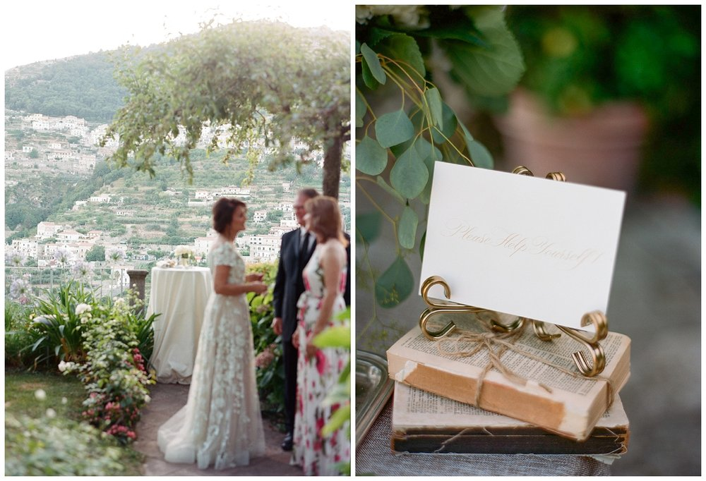 Guests mingle at a reception high on the hills of Ravello, Italy in the Amalfi Coast; Sylvie Gil Photography