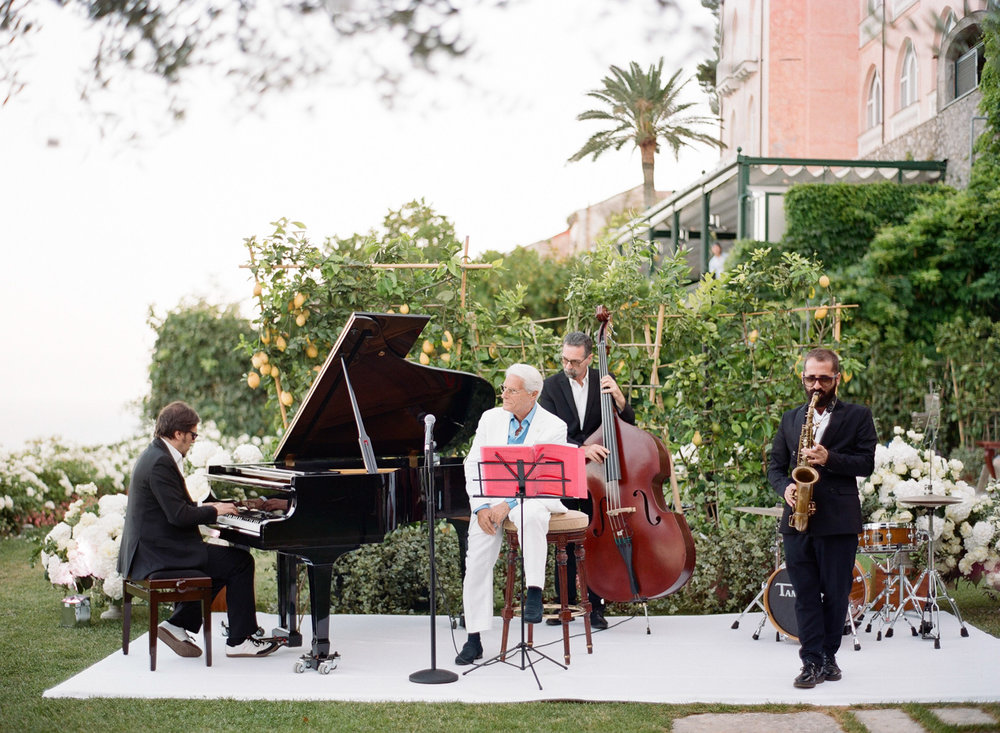 The reception band at an Amalfi Coast wedding in Ravello, Italy; Sylvie Gil Photography