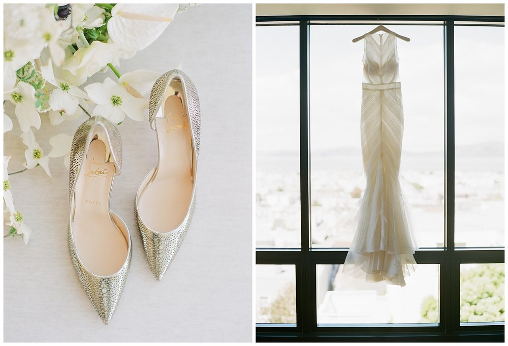 The bride's Louboutins and J Mendel wedding gown hanging in the window; Sylvie Gil Photography