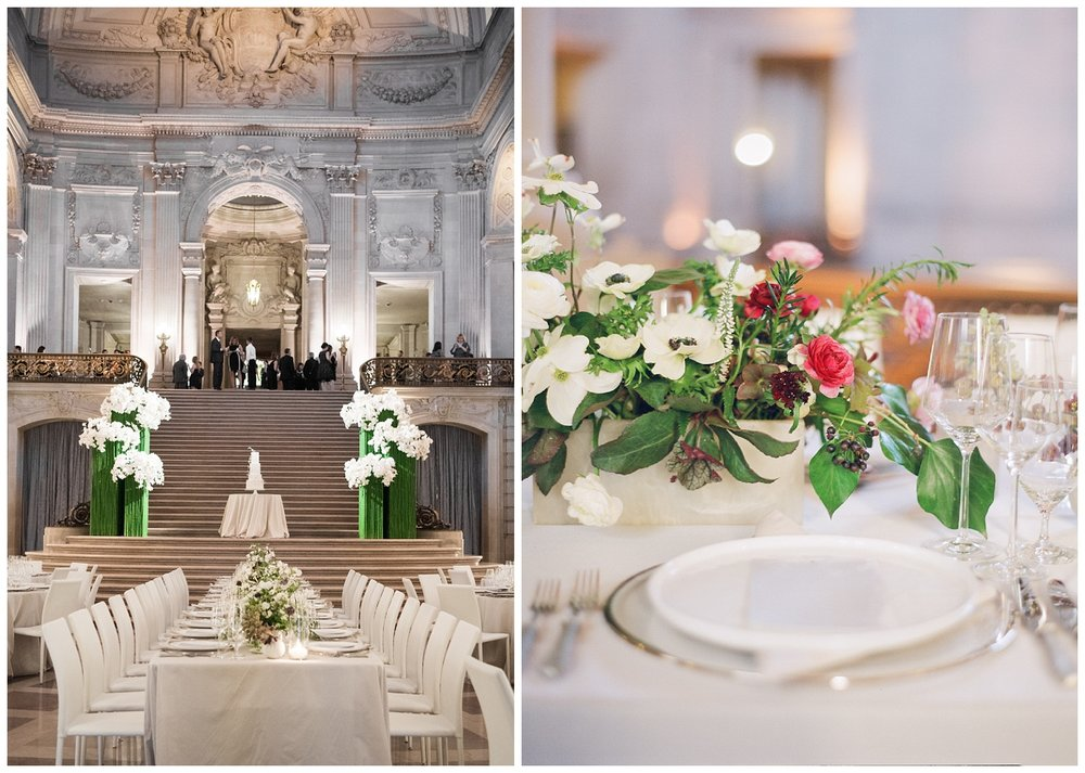 The reception tables set up in the San Francisco City Hall atrium; Sylvie Gil Photography