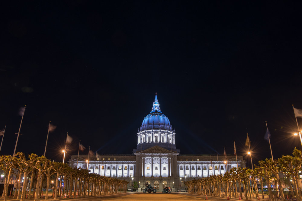 The exterior of San Francisco City Hall at night, following Jill & Brian's wedding; Sylvie Gil Photography