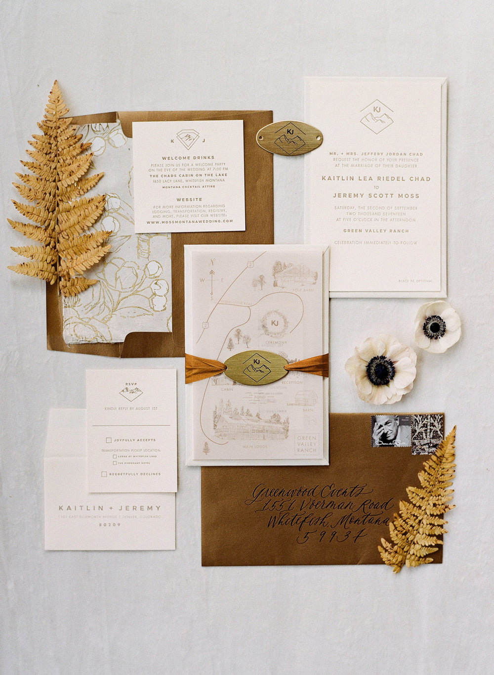 Rustic invitation suite for a Glacier National Park wedding in Whitefish, Montana; Sylvie Gil Photography