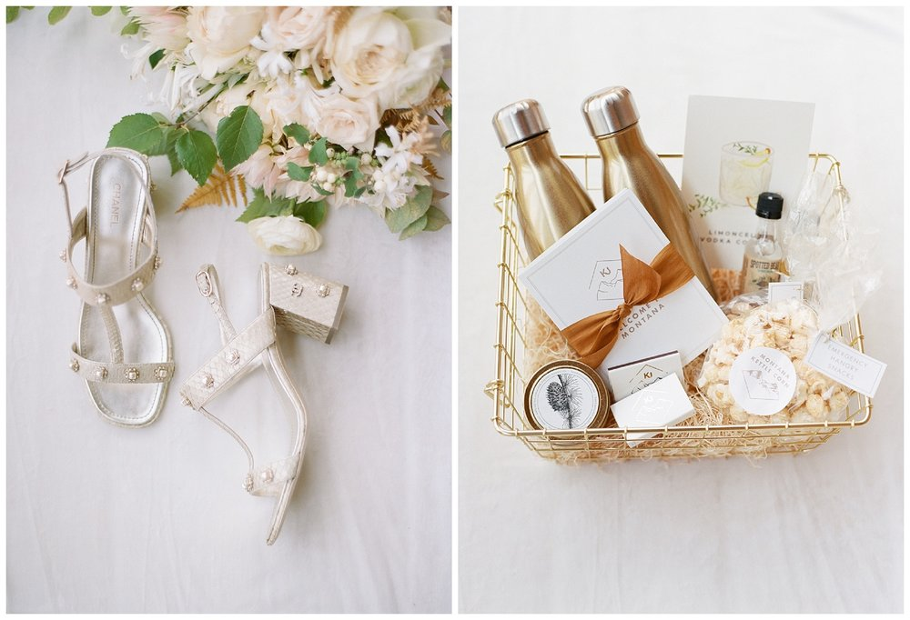 The bride's Chanel shoes and a gold hued welcome basket for guests; Sylvie Gil Photography