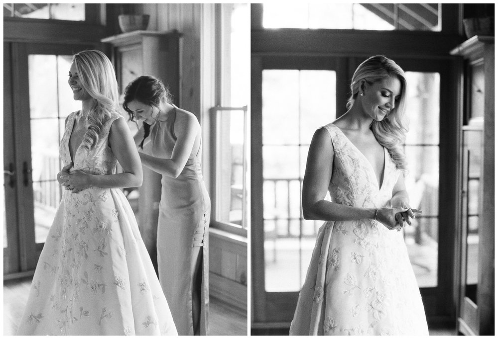The bride gets ready for her wedding in Whitefish, Montana; Sylvie Gil Photography