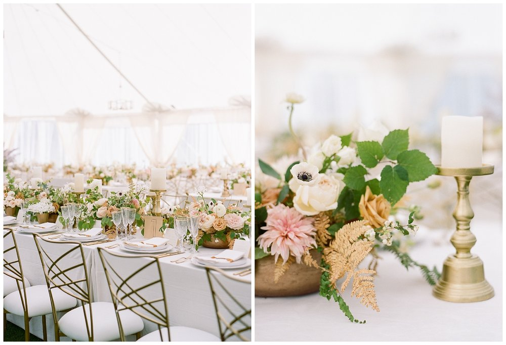 Gold and bronze accents at the wedding reception, centerpieces with golden ferns and dogwoods; Sylvie Gil Photography