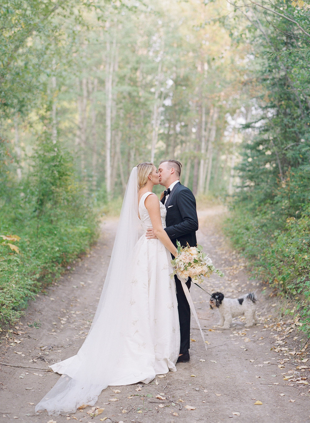 A couple portrait after the ceremony in Whitefish, Montana; Sylvie Gil Photography