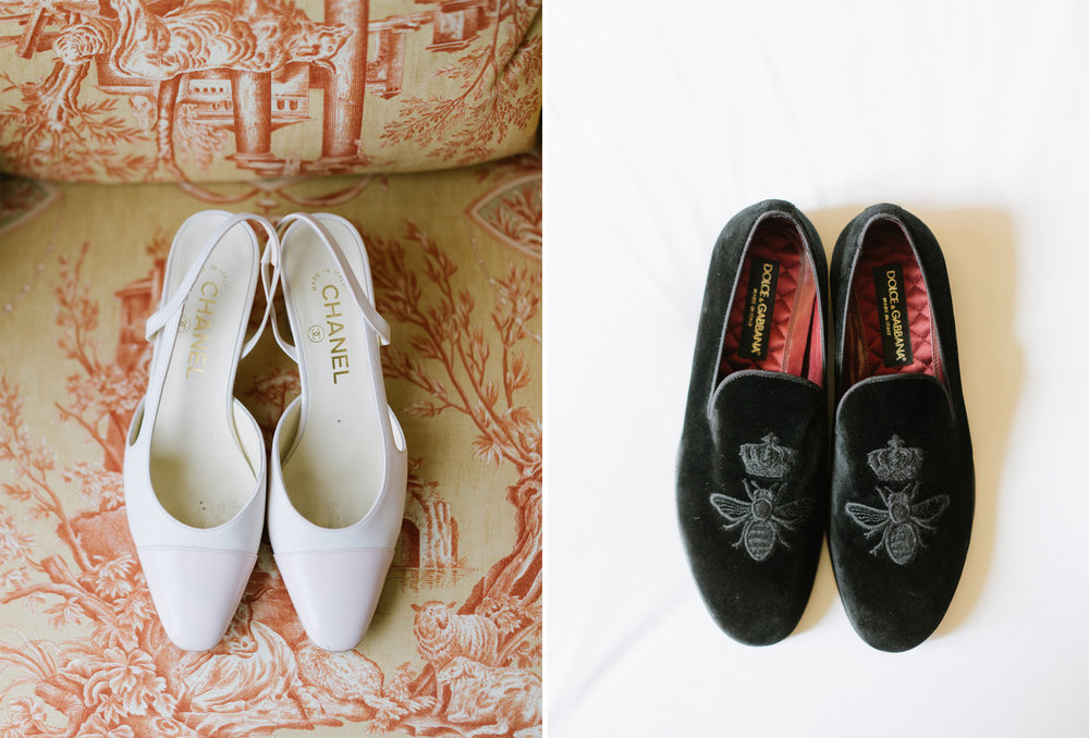 Bride and groom's shoes - Chanel and Dolce Gabbana; Sylvie Gil Photography