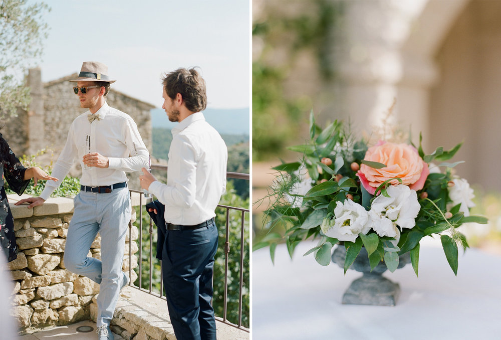 Guests mingle in Gordes, France before the wedding ceremony; Sylvie Gil Photography