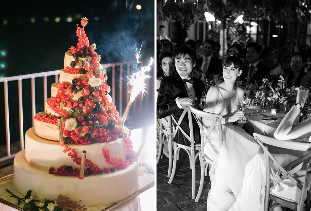 "A seven tiered wedding ""cake"" made of wheels of cheese, lit with sparklers; Sylvie Gil Photography"